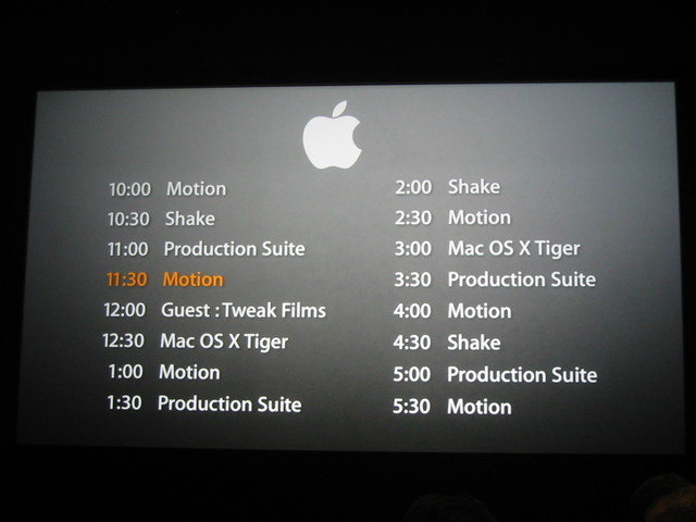 Apple booth schedule