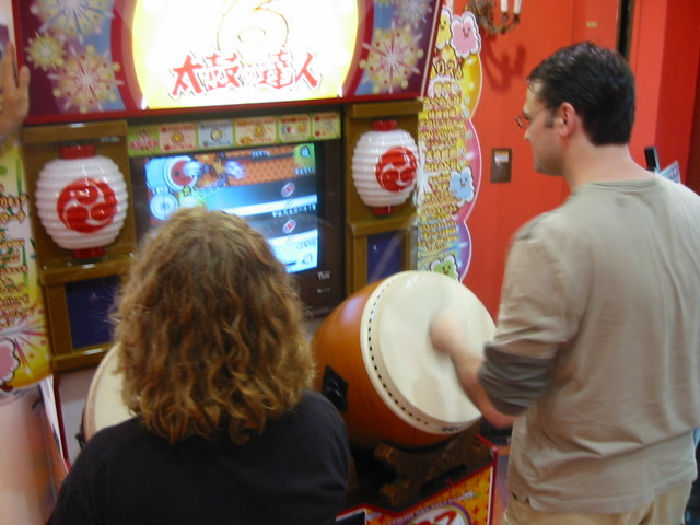 Jim and Libby playing Taiko