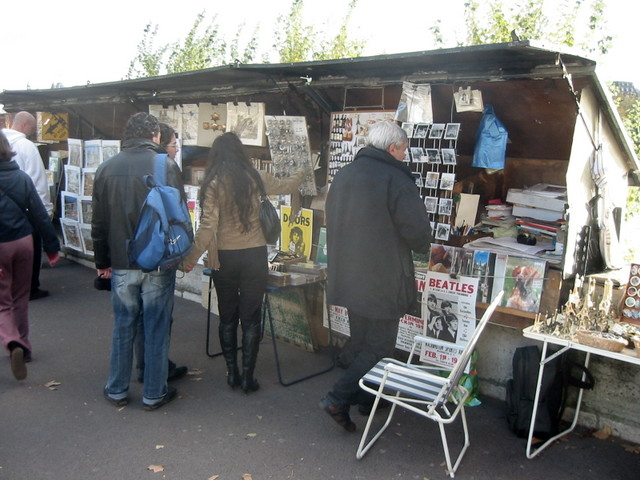 Stalls along the Seine riverbank