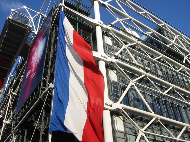 French flag on the Pompidou